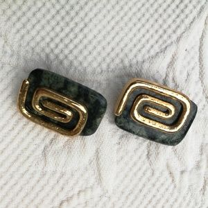 3/30$ Vintage Earrings Clip Rectangles Gold Spiral
